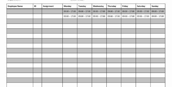 Printable Employee Work Schedule Template In Printable Employee Schedule Templates