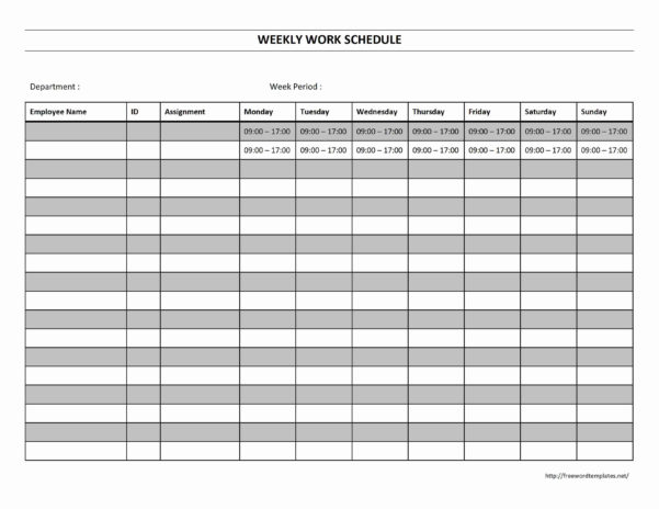 Printable Employee Work Schedule Template Intended For Employee Weekly Schedule Template