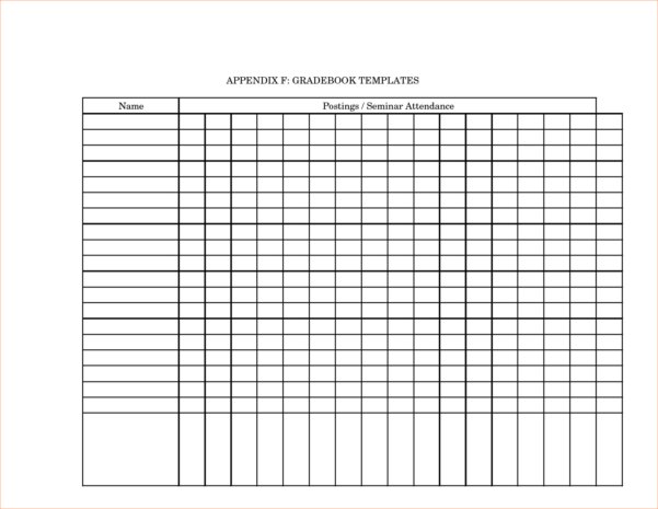 Printable Grade Book Template For Teachers   Southbay Robot And Teacher Printable Templates