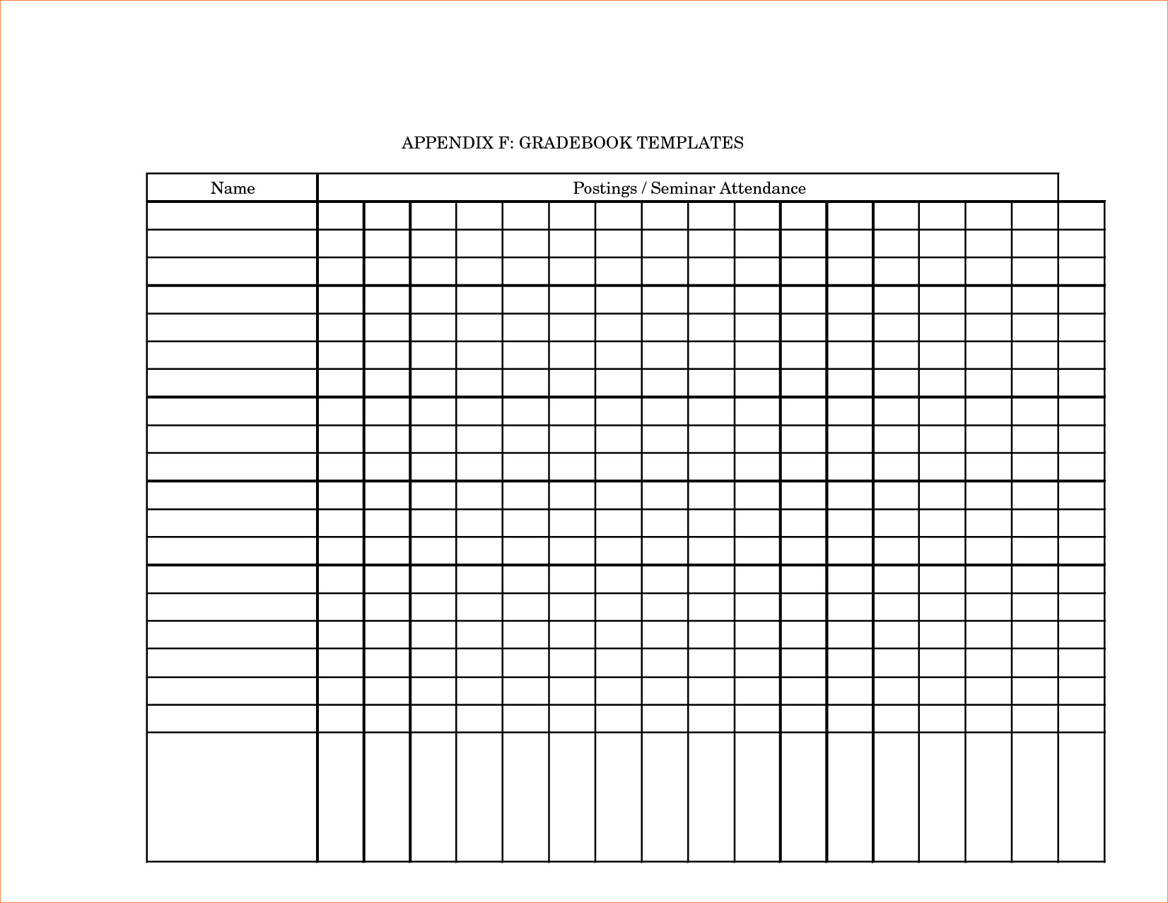 Printable Grade Book Template For Teachers - Southbay Robot and Teacher Printable Templates