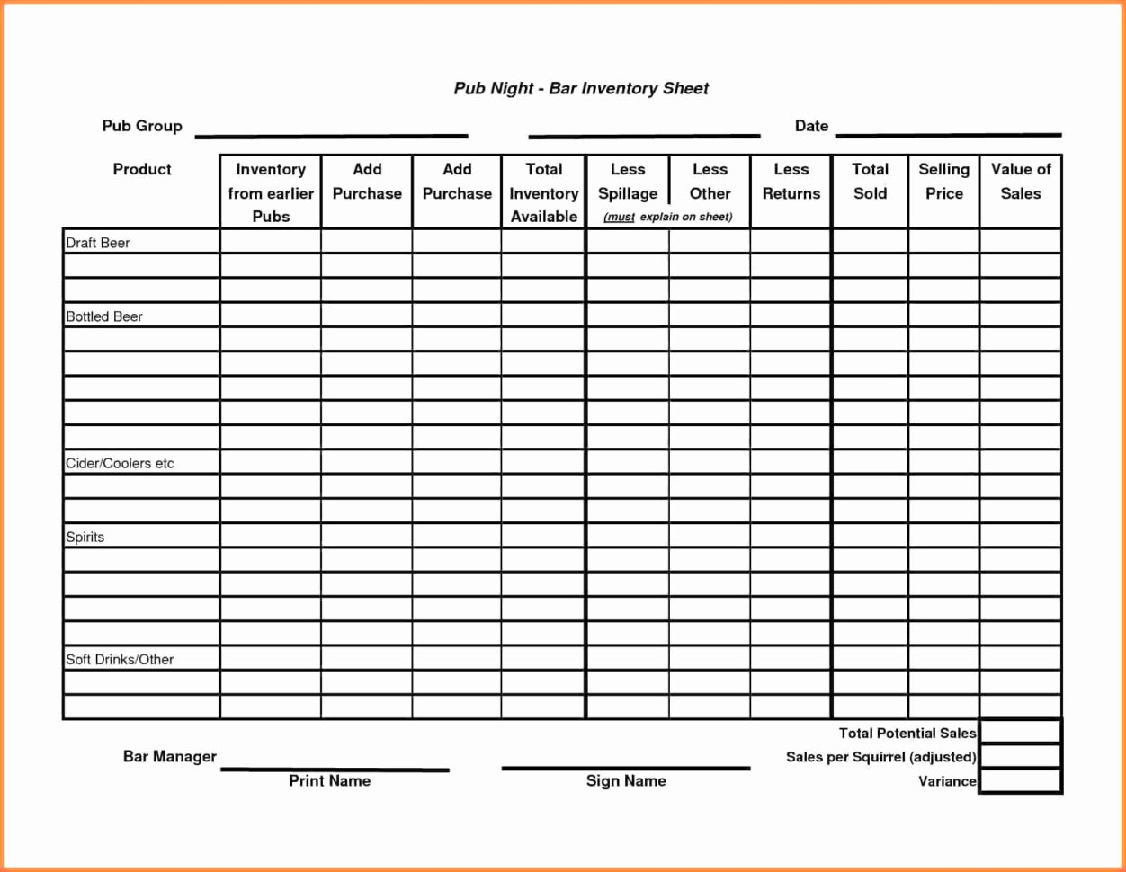 Printable Liquor Inventory Sheets Beautiful Sample Liquor Inventory Throughout Sample Bar Inventory Spreadsheet
