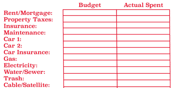 Printable Monthly Budget Getformtemplates Worksheet 1 Great With Printable Spreadsheet Template