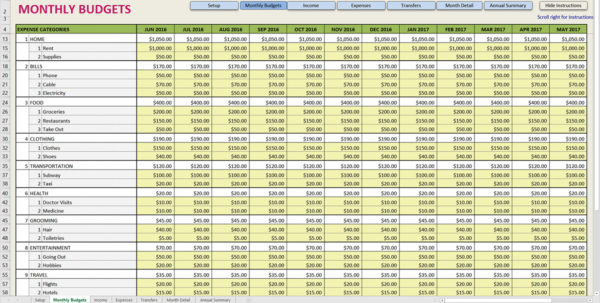 Printable Monthly Budget Template Expenses Spreadsheet Personal And Inside Monthly Budget Planner Excel Free Download Monthly Budget Planner Excel Free Download Example of Spreadsheet