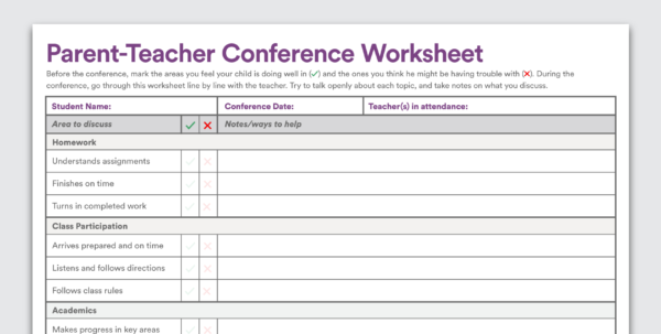 Printable Parent Teacher Conference Worksheet In Teacher Printable Templates