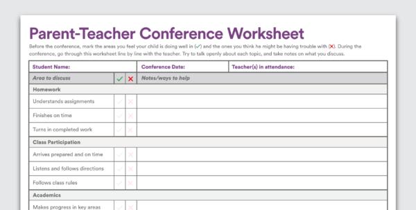 Printable Parent Teacher Conference Worksheet Intended For Worksheet Templates For Teachers