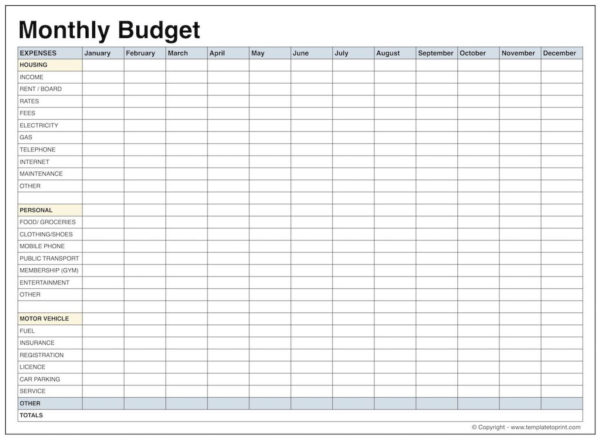 Printablethly Budget Template Blank Latter Day Depiction Bill Of With Monthly Budget Planner Excel Free Download