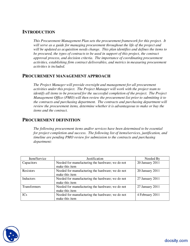 Procurement Management Plan Example Engineering Project Management And Project Management Plan Templates