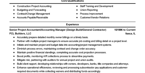 Professional Construction Accountant Templates To Showcase Your For Bookkeeping Resume Templates