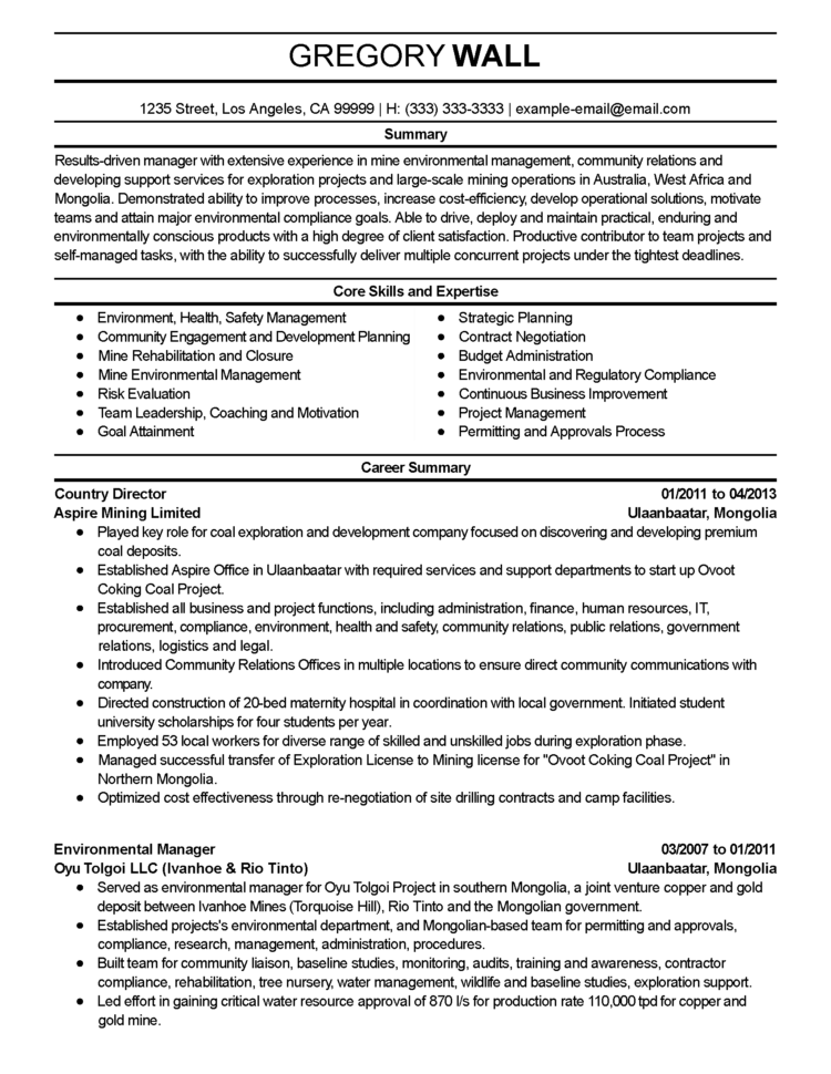 Professional Environmental Manager Templates To Showcase Your Talent With Project Management Resume Templates