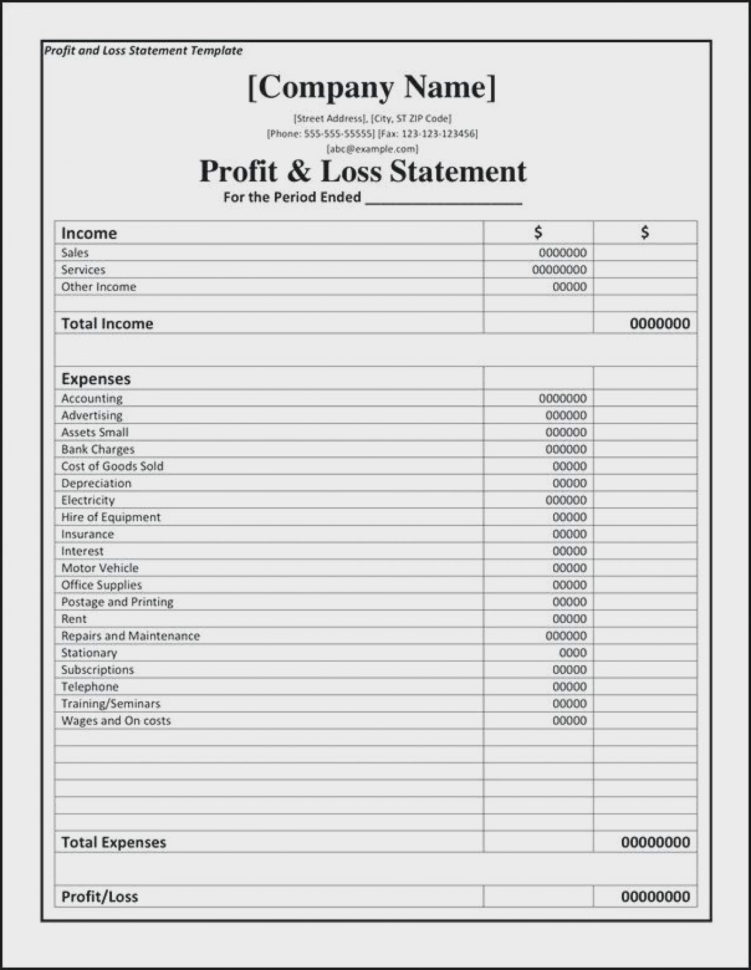 Profit And Loss Format Statement Excel Template Projection In Pl Throughout Excel Profit And Loss Template