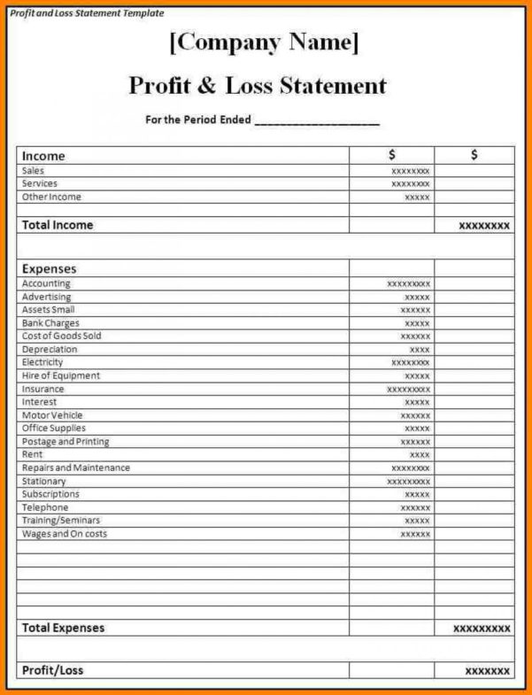 Profit And Loss Statement Sample Form Template Word Excel Formats To Income Statement Template Word
