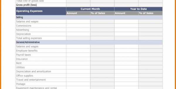 Profit And Loss Statement Template For Self Employed Excel Throughout Profit And Loss Statement Template For Self Employed Excel