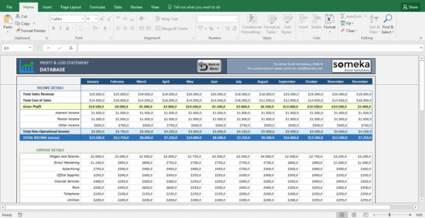 Profit And Loss Statement Template   Free Excel Spreadsheet In Personal Finance Excel Spreadsheet Free