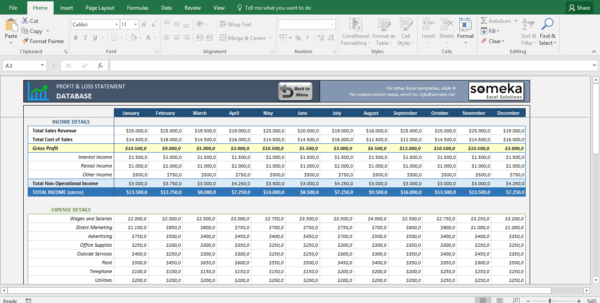 Profit And Loss Statement Template   Free Excel Spreadsheet Inside Excel Spreadsheet Templates Excel Spreadsheet Templates Excel Spreadsheet Templates