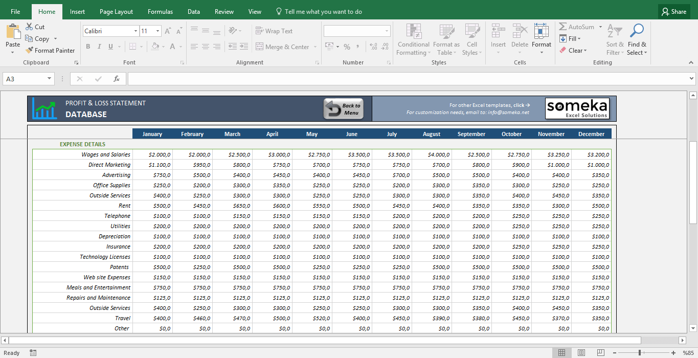 Profit And Loss Statement Template   Free Excel Spreadsheet Throughout Excel Profit And Loss Template