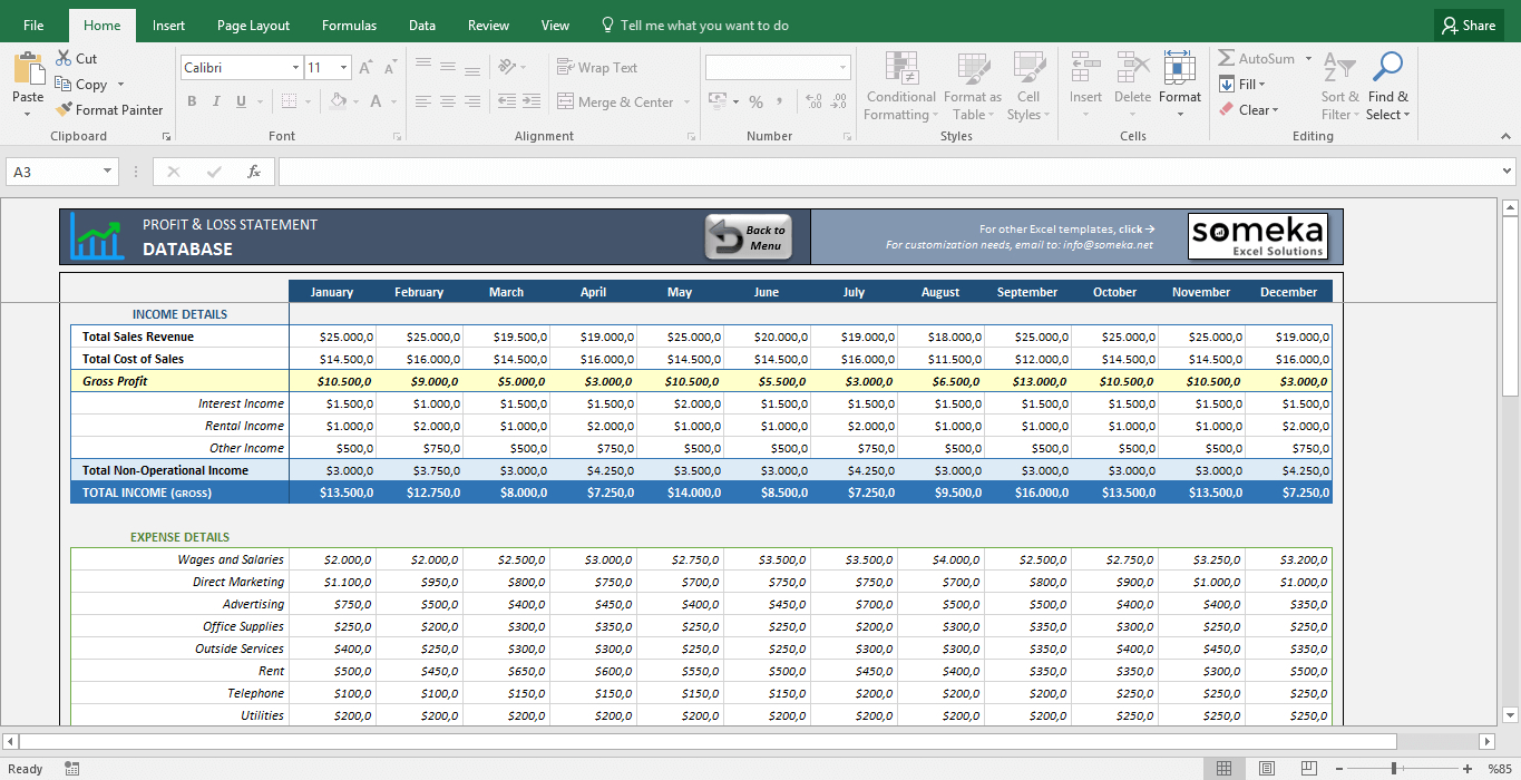 Profit And Loss Statement Template   Free Excel Spreadsheet Throughout Profit And Loss Statement Template