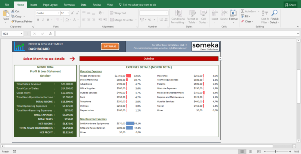 Profit And Loss Statement Template   Free Excel Spreadsheet With Dashboard Spreadsheet Templates
