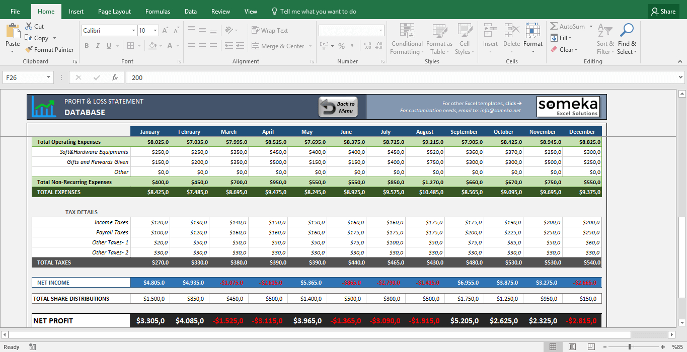 Profit And Loss Statement Template   Free Excel Spreadsheet With Sample Excel Spreadsheet Templates