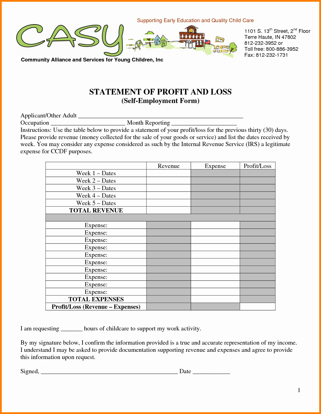 Profit And Loss Statements Statement Self Employed For Template R 03 In Profit And Loss Statement Template For Self Employed