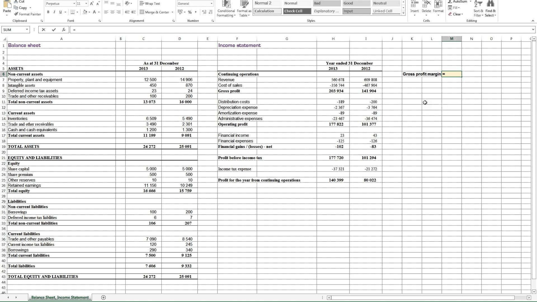 Profit Loss And Balance Sheet Projected Profit And Loss Template Inside Excel Profit And Loss Template