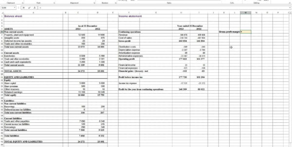 Profit Loss And Balance Sheet Projected Profit And Loss Template To Profit Loss Spreadsheet Template