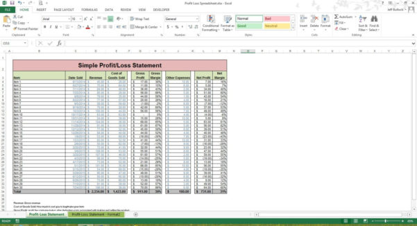 Profit Loss Statement Excel Spreadsheet Template Microsoft | Etsy With Profit And Loss Spreadsheet Template