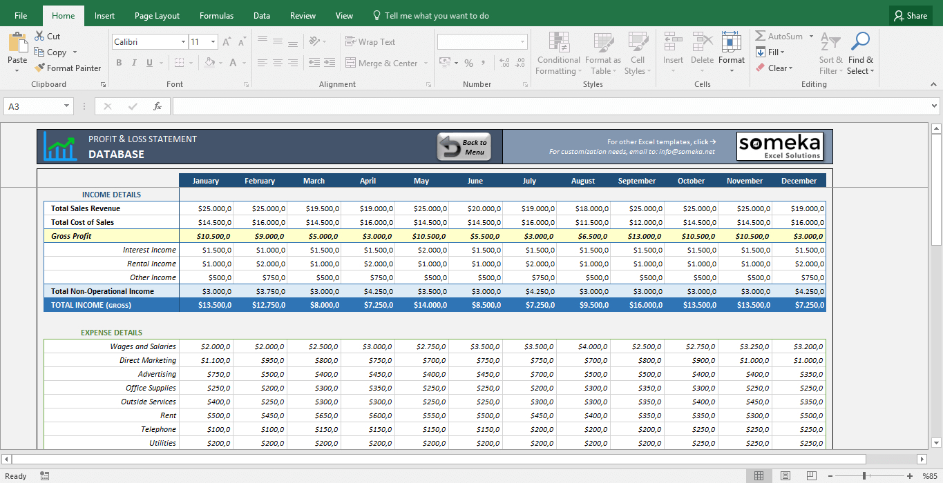 Profitloss Statement Excel Template Simple Excel Spreadsheet With Simple Excel Spreadsheet Template