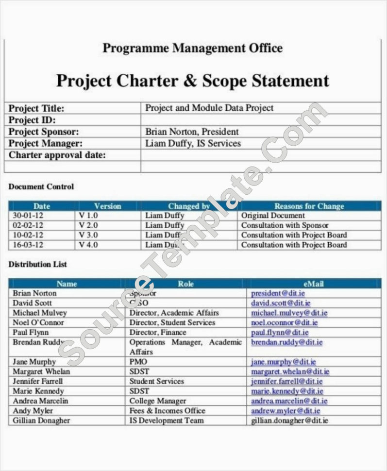 Project Charter In Project Management Project Charter Template Intended For Project Management Charter Templates