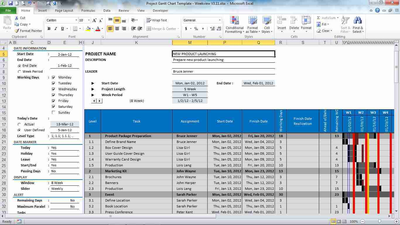 Project Gantt Chart Template For Excel 3.12 Download In Gantt Chart Template Excel 2010 Free Download