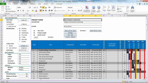Project Gantt Chart Template For Excel 3.12 Download Intended For Gantt Chart Template Excel Mac
