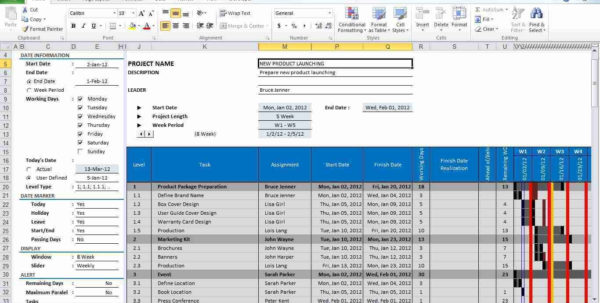 Project Gantt Chart Template For Excel Screenshot Windows 8 Within Intended For Excel Crm Template Free