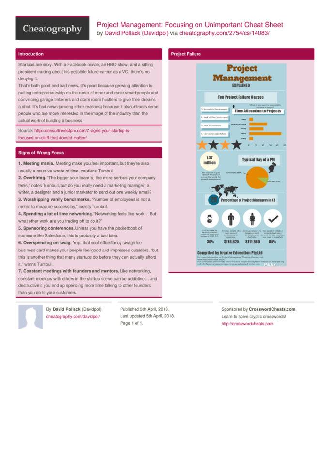 Project Management: Focusing On Unimportant Cheat Sheetdavidpol With Project Management Cheat Sheet