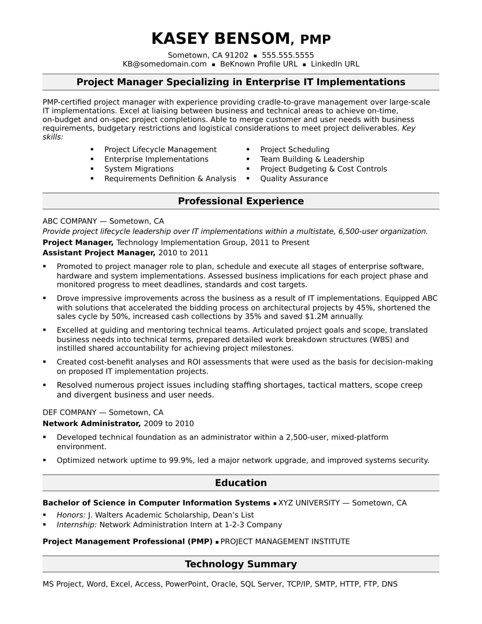 Project Management It Manager Resumes Best Of Account Resume With Project Management Resume Templates