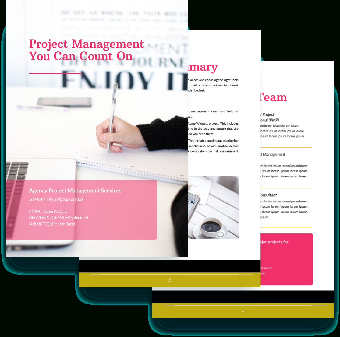 Project Management Proposal Template - Free Sample | Proposify in Project Management Design Templates