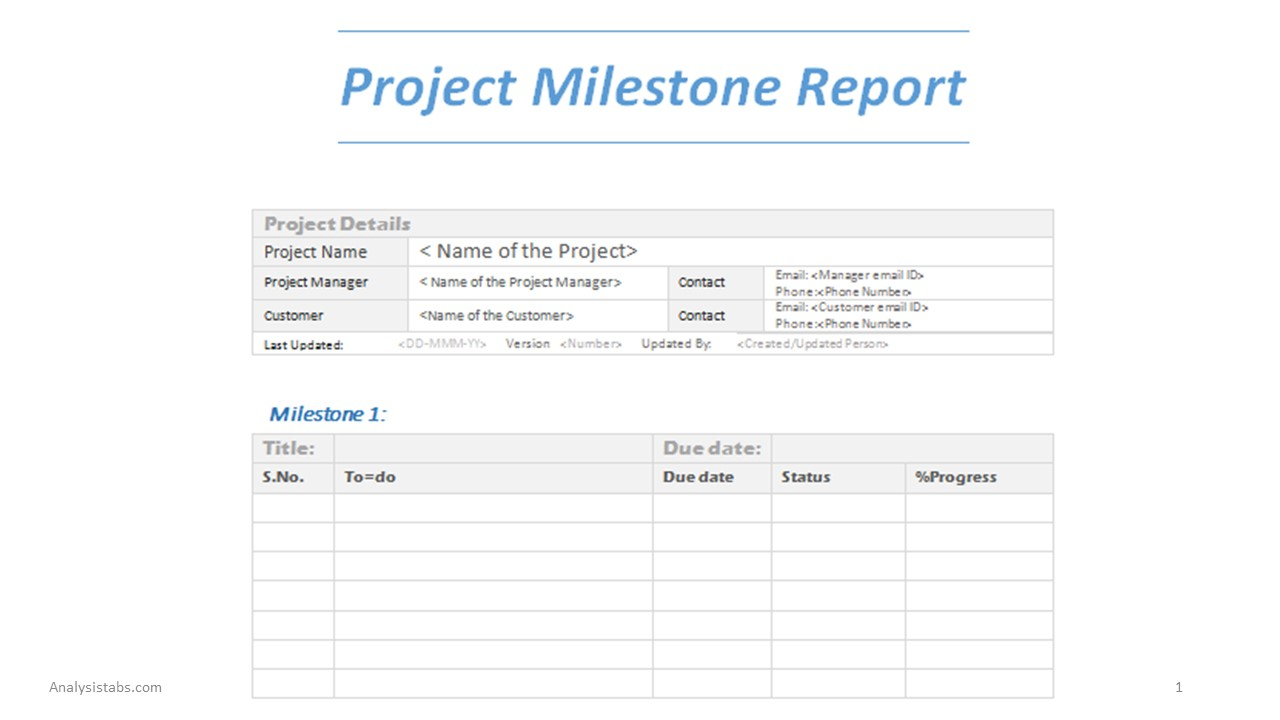 Project Milestone Report Word Template And Project Management Reporting Templates For Status