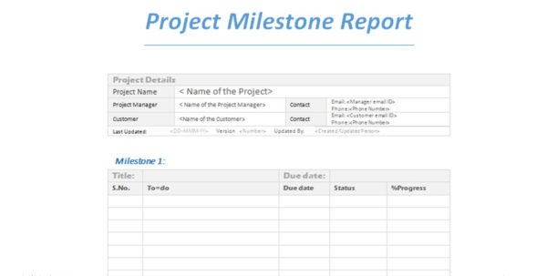 Project Milestone Report Word Template In Project Management Reporting Templates