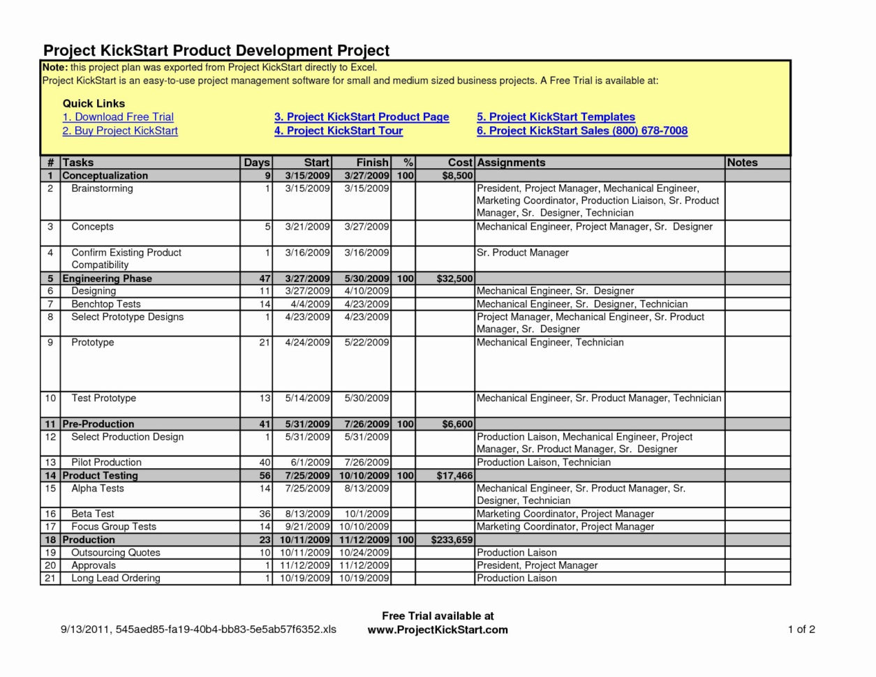 project management templates in excel for free download