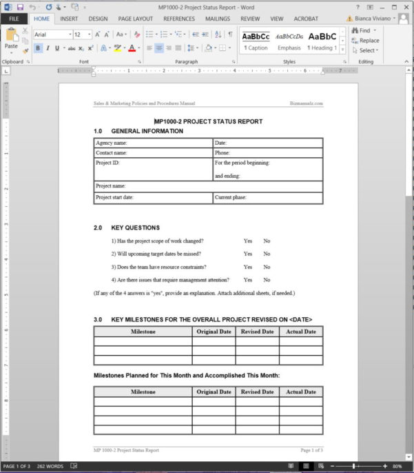 Project Status Report Template To Project Management Reporting Templates For Status