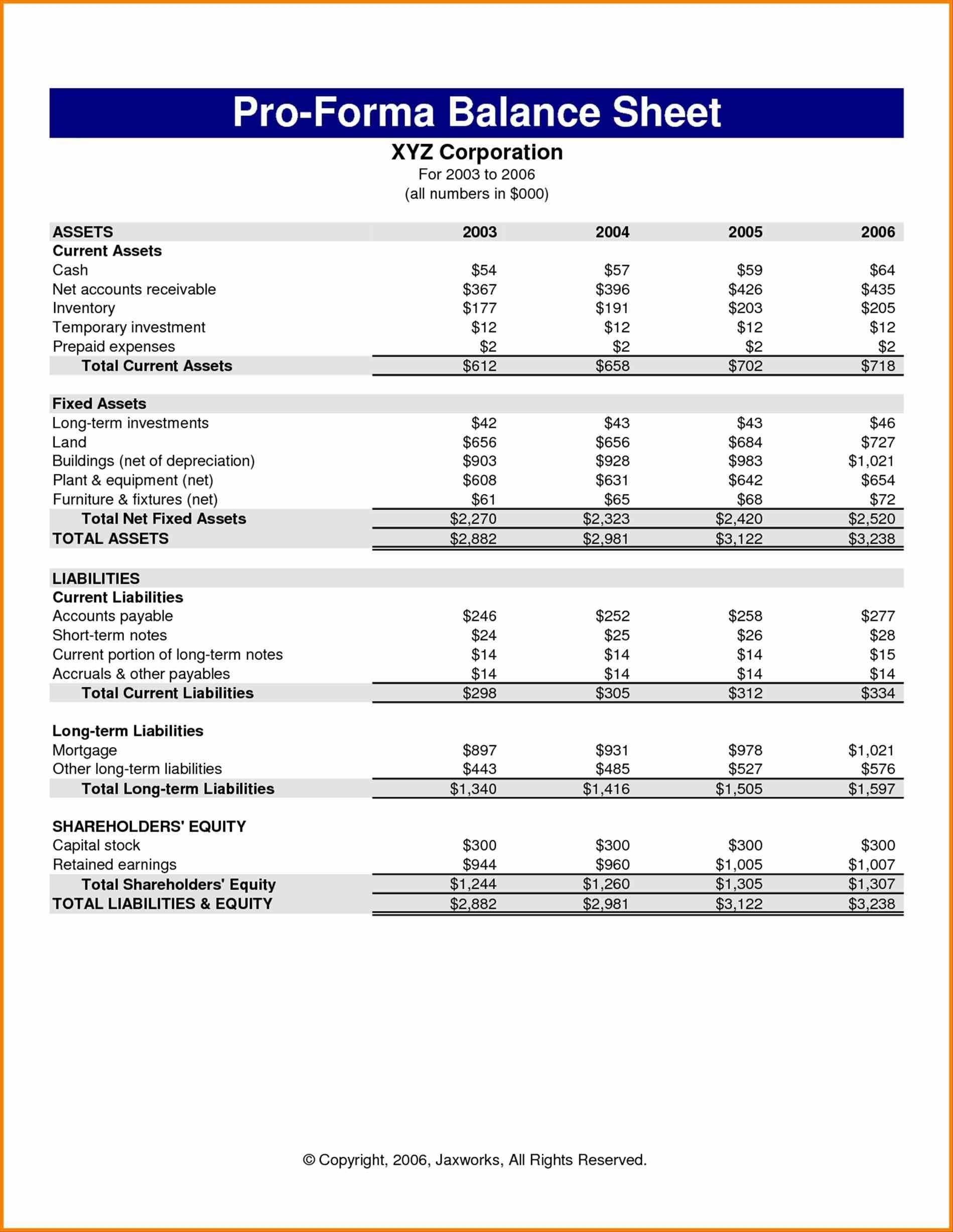 Proprietorship Business Balance Balance Sheet Excel Template Sheet Within Monthly Balance Sheet Template Excel