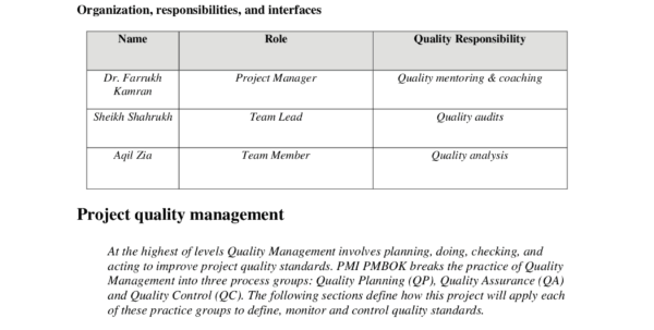 Quality Management Plan Example Engineering Project Management Inside Project Management Plan Templates
