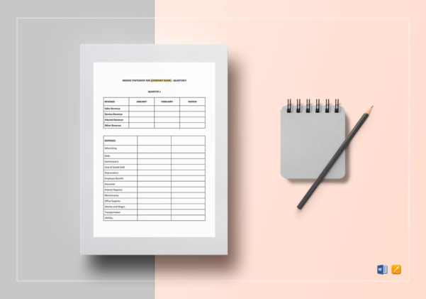Quarterly Income Statement Template In Word, Google Docs, Apple Pages For Income Statement Template Word