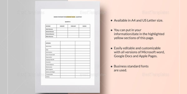 Quarterly Income Statement Template In Word, Google Docs, Apple Pages In Quarterly Income Statement Template
