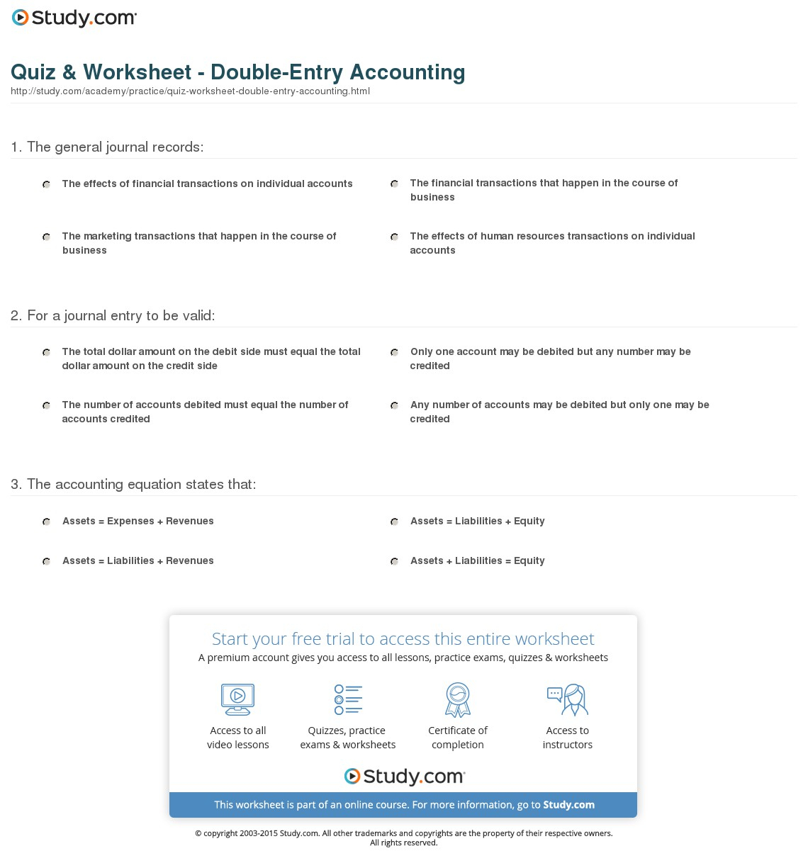 Quiz & Worksheet   Double Entry Accounting | Study Inside Accounting Practice Worksheet