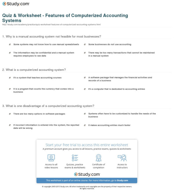 Quiz & Worksheet   Features Of Computerized Accounting Systems And Accounting Practice Worksheet