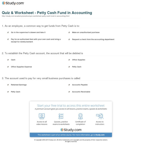 Quiz & Worksheet   Petty Cash Fund In Accounting | Study Intended For Accounting Worksheet