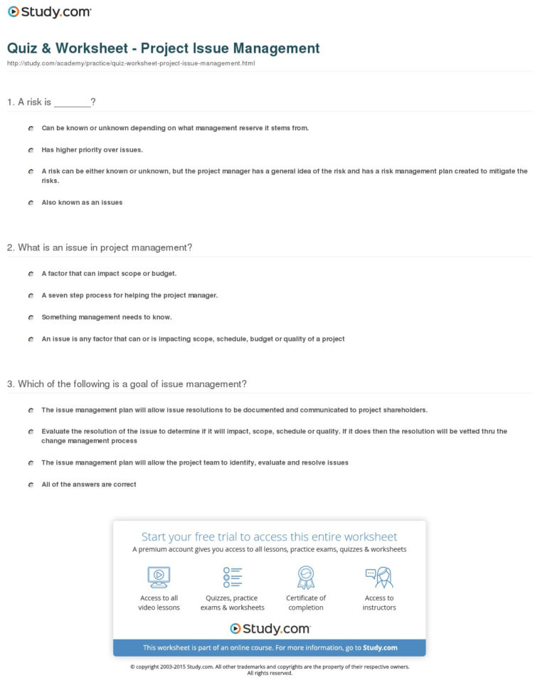 Quiz & Worksheet   Project Issue Management | Study In Project Management Worksheet
