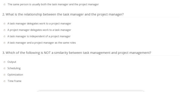 Quiz & Worksheet   Task Vs. Project Management | Study Within Project Management Worksheet