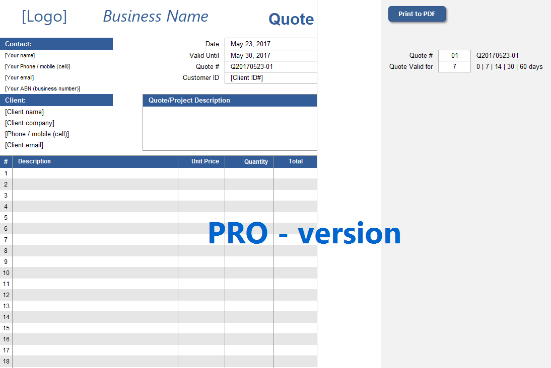 Quote Spreadsheet Template [Pro Version] | Excelsupersite With Spreadsheet Templates