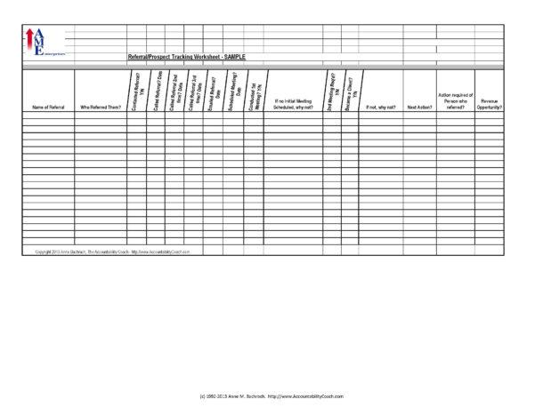 Referral/prospect Tracking Spreadsheet – Sample – Free Download For Sample Spreadsheet