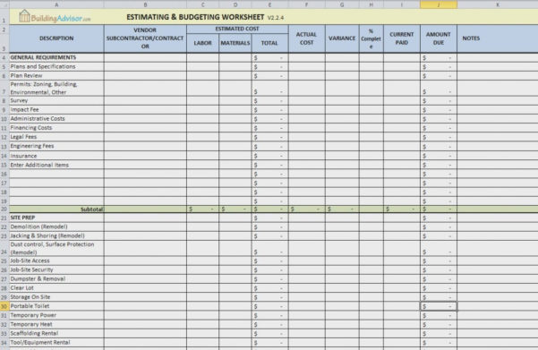 Renovation Project Management Spreadsheet Home Template Construction For Home Renovation Project Management Spreadsheet